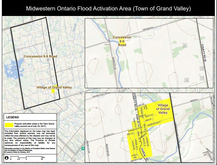 Midwestern Ontario Flood Activation Area - Grand Valley